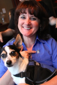 AHRA Board Member Brenda Rinehart, CRA, FAHRA, shows off her donor pin and her amazing dog Milo during the AHRA Annual Meeting volunteer reception. #wheresyourpin